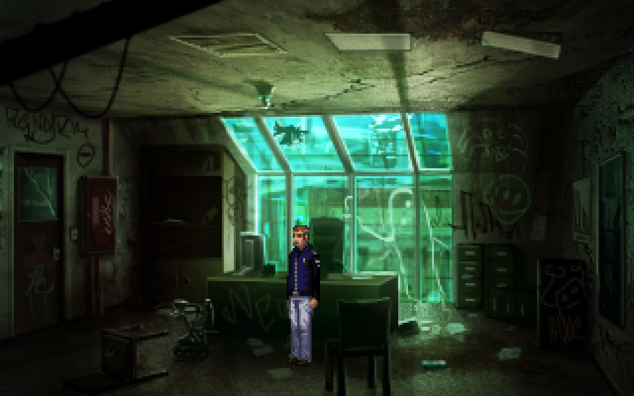 A grimy, abandoned office in Technobabylon allows me to show that people have broken in and vandalized the place.