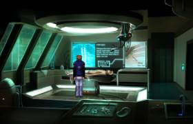 Dr. Regis in the medical bay.